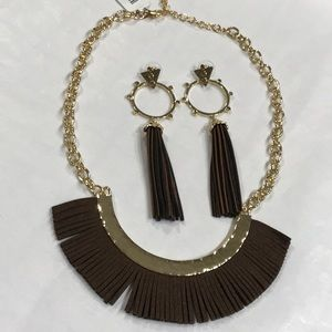 Brown & Gold M. Haskell Necklace & Earrings Set